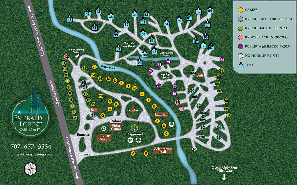 Emerald Forest Cabins & RV - site map